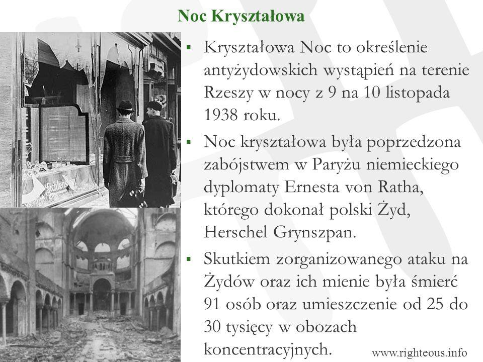 Noc Kryształowa Kryształowa Noc to określenie antyżydowskich wystąpień na terenie Rzeszy w nocy z 9 na 10 listopada 1938 roku. Noc kryształowa była po