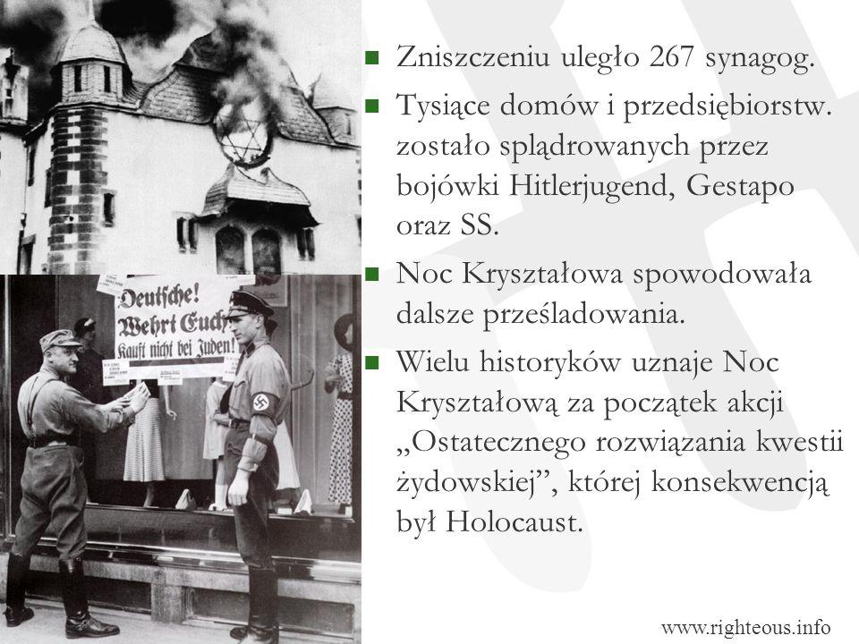 Zniszczeniu uległo 267 synagog. Tysiące domów i przedsiębiorstw. zostało splądrowanych przez bojówki Hitlerjugend, Gestapo oraz SS. Noc Kryształowa sp