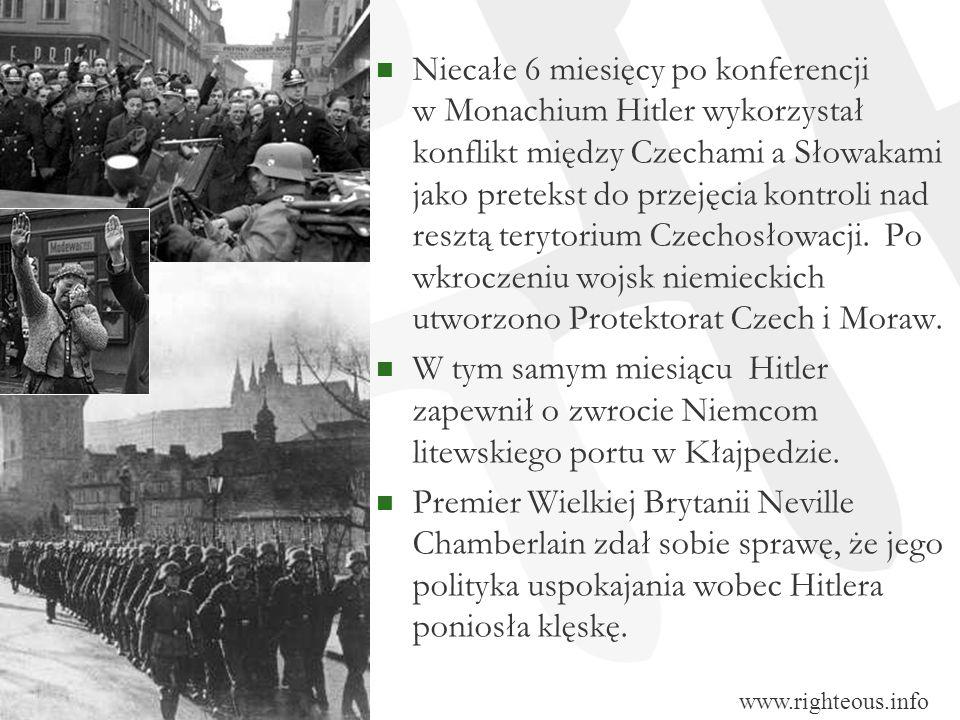 Niecałe 6 miesięcy po konferencji w Monachium Hitler wykorzystał konflikt między Czechami a Słowakami jako pretekst do przejęcia kontroli nad resztą t