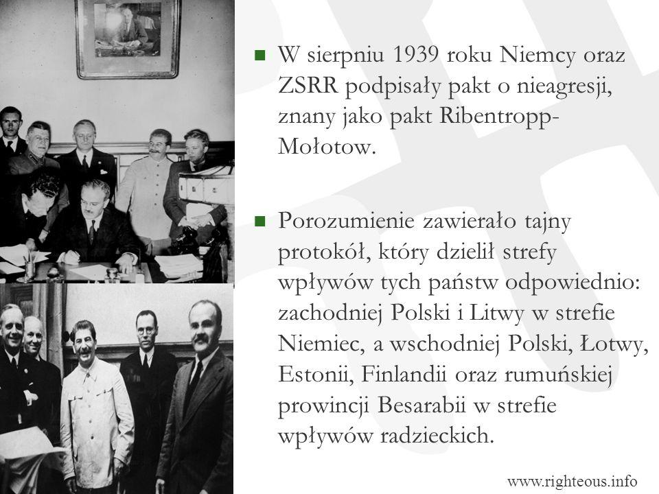 W sierpniu 1939 roku Niemcy oraz ZSRR podpisały pakt o nieagresji, znany jako pakt Ribentropp- Mołotow. Porozumienie zawierało tajny protokół, który d