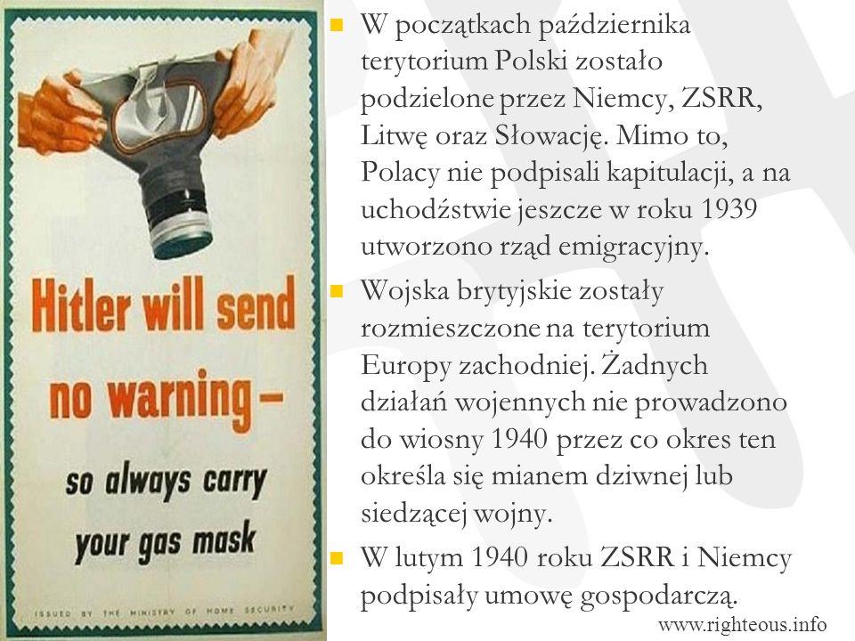 W początkach października terytorium Polski zostało podzielone przez Niemcy, ZSRR, Litwę oraz Słowację. Mimo to, Polacy nie podpisali kapitulacji, a n