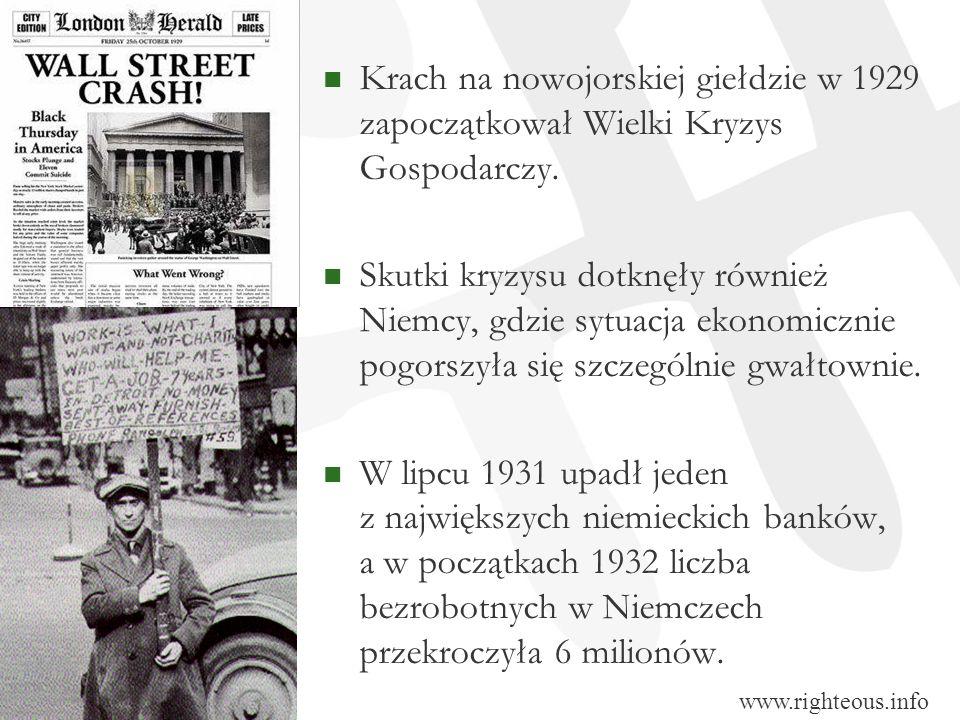 Krach na nowojorskiej giełdzie w 1929 zapoczątkował Wielki Kryzys Gospodarczy. Skutki kryzysu dotknęły również Niemcy, gdzie sytuacja ekonomicznie pog