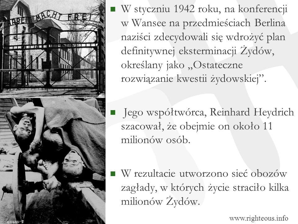 W styczniu 1942 roku, na konferencji w Wansee na przedmieściach Berlina naziści zdecydowali się wdrożyć plan definitywnej eksterminacji Żydów, określa