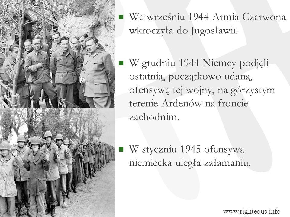 We wrześniu 1944 Armia Czerwona wkroczyła do Jugosławii. W grudniu 1944 Niemcy podjęli ostatnią, początkowo udaną, ofensywę tej wojny, na górzystym te