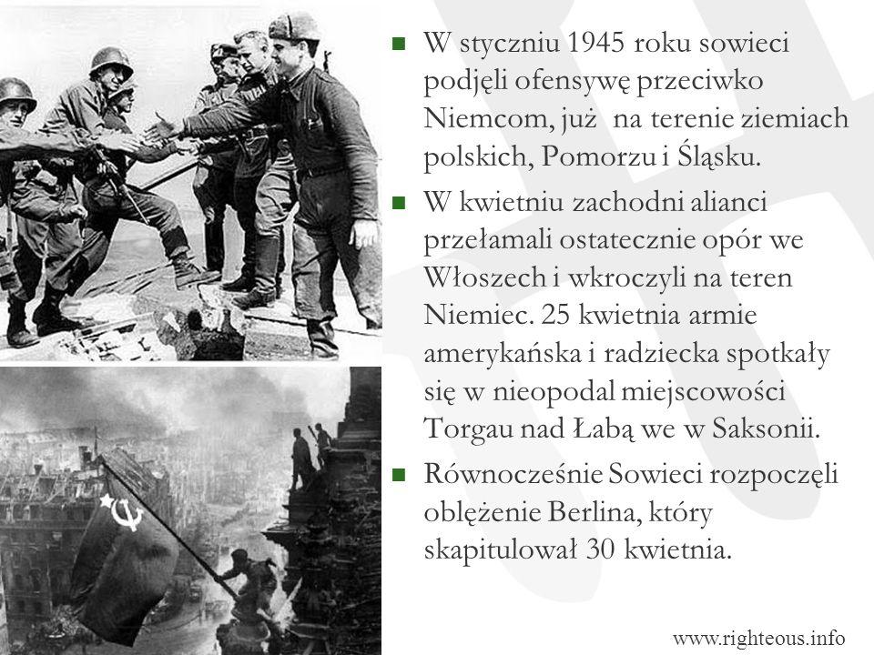 W styczniu 1945 roku sowieci podjęli ofensywę przeciwko Niemcom, już na terenie ziemiach polskich, Pomorzu i Śląsku. W kwietniu zachodni alianci przeł