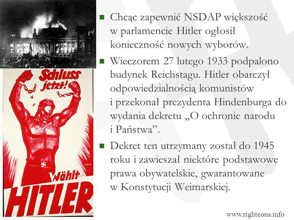 Chcąc zapewnić NSDAP większość w parlamencie Hitler ogłosił konieczność nowych wyborów. Wieczorem 27 lutego 1933 podpalono budynek Reichstagu. Hitler