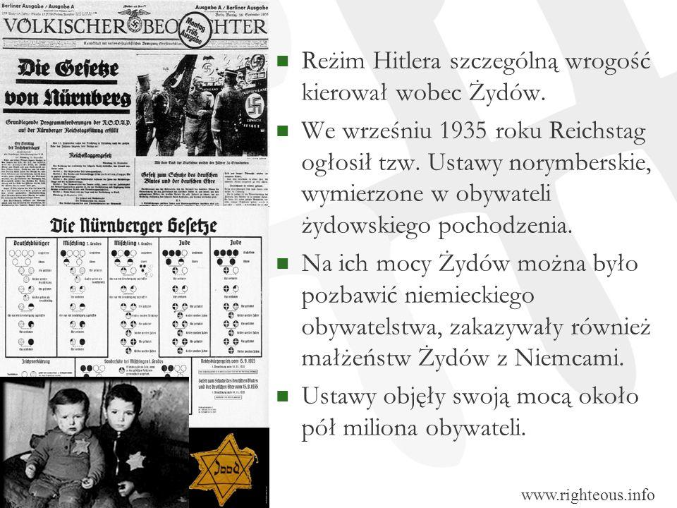 Reżim Hitlera szczególną wrogość kierował wobec Żydów. We wrześniu 1935 roku Reichstag ogłosił tzw. Ustawy norymberskie, wymierzone w obywateli żydows