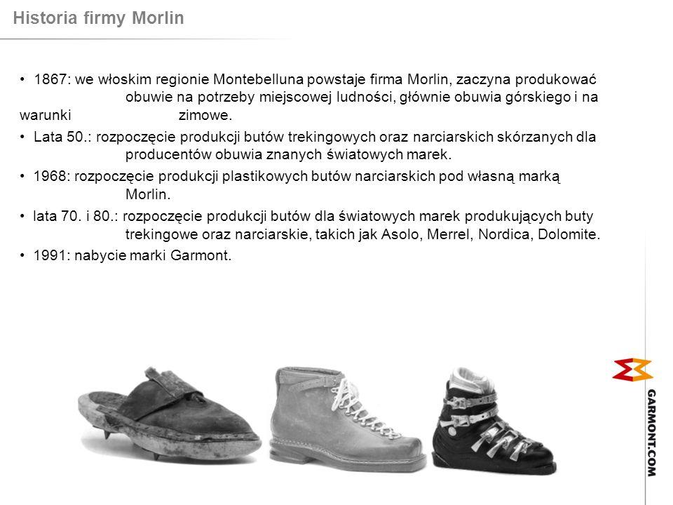 Historia starego Garmonta Garmont = Garbujo (nazwisko założyciela) + Montello (nazwa regionu) 1964: założenie firmy 1968: pierwsze skórzane buty z podeszwą wykonaną metodą wtrysku 1971: pierwsze buty z syntetyczną cholewką 1971: Garmont zdominował mistrzostwa świata w narciarstwie dwoma modelami butów narciarskich: Galaxie i Ghibli.