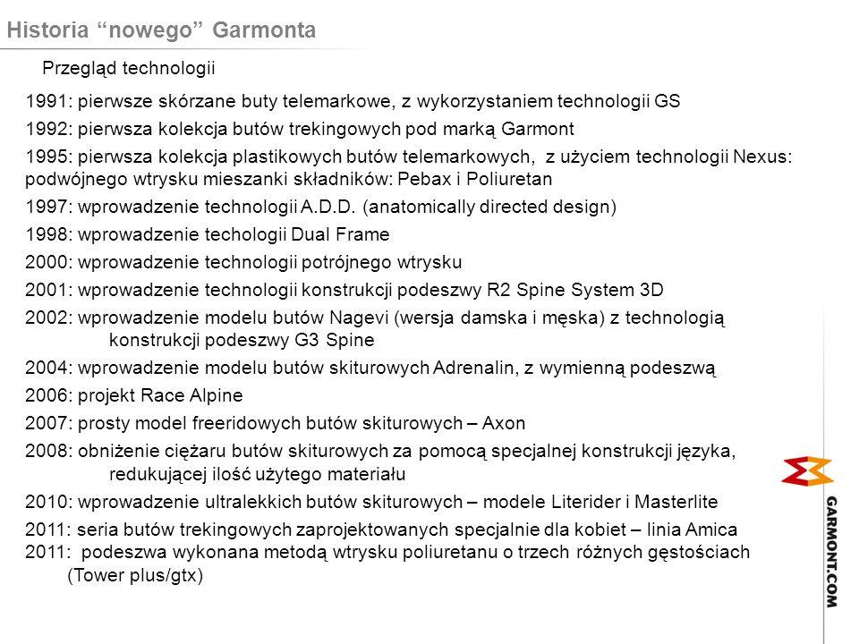 Historia nowego Garmonta Przegląd rynku 1991-95 skupienie na rynkach zagranicznych, produkcja butów tylko na rynki zagraniczne 1996 wprowadzenie marki Garmont na włoski rynek 2002 wprowadzenie marki Garmont na nowe, rozwijające się rynki (np.
