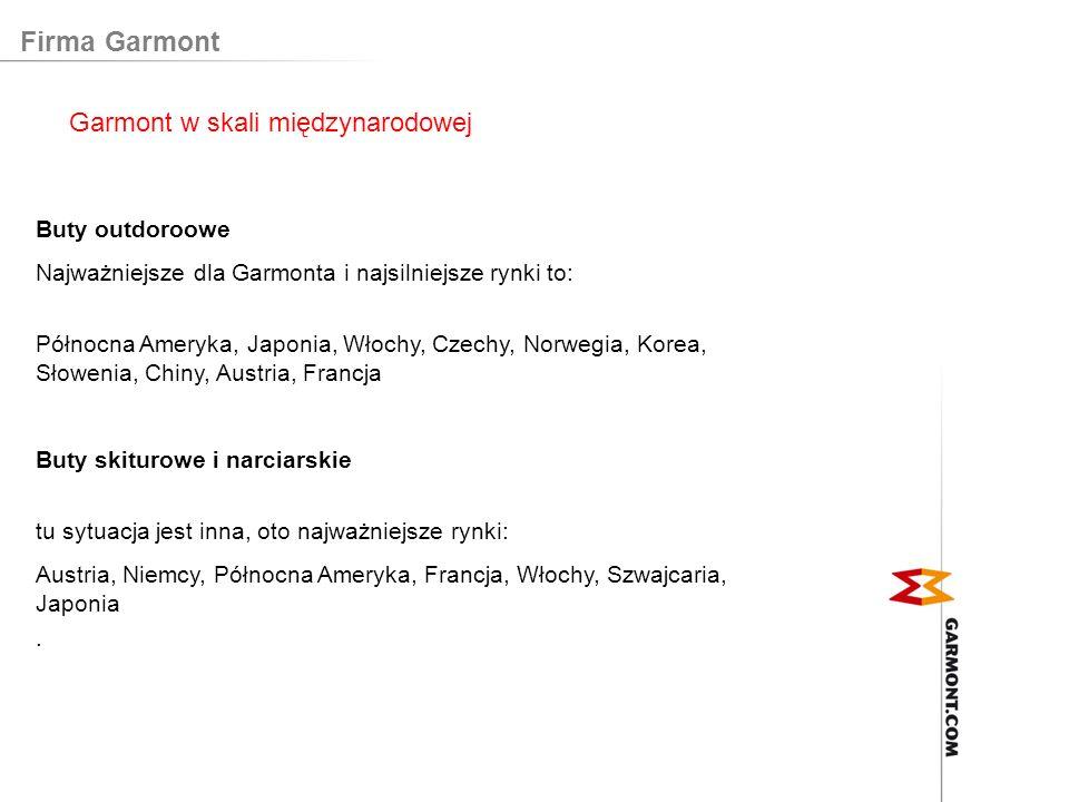 Firma Garmont Buty outdoroowe Najważniejsze dla Garmonta i najsilniejsze rynki to: Północna Ameryka, Japonia, Włochy, Czechy, Norwegia, Korea, Słoweni