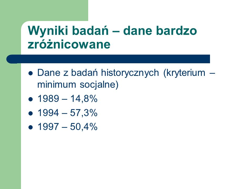 Wyniki badań – dane bardzo zróżnicowane Dane z badań historycznych (kryterium – minimum socjalne) 1989 – 14,8% 1994 – 57,3% 1997 – 50,4%