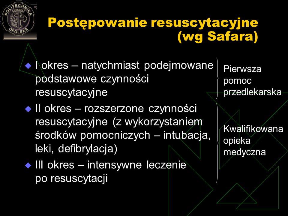 Postępowanie resuscytacyjne (wg Safara) I okres – natychmiast podejmowane podstawowe czynności resuscytacyjne II okres – rozszerzone czynności resuscy