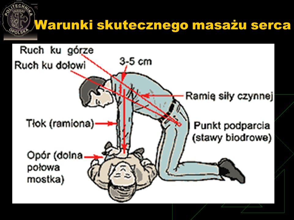 Warunki skutecznego masażu serca Twarde podłoże Właściwy punkt przyłożenia rąk: 1/3 dolna mostka (2 palce powyżej końca mostka) Do klatki piersiowej p