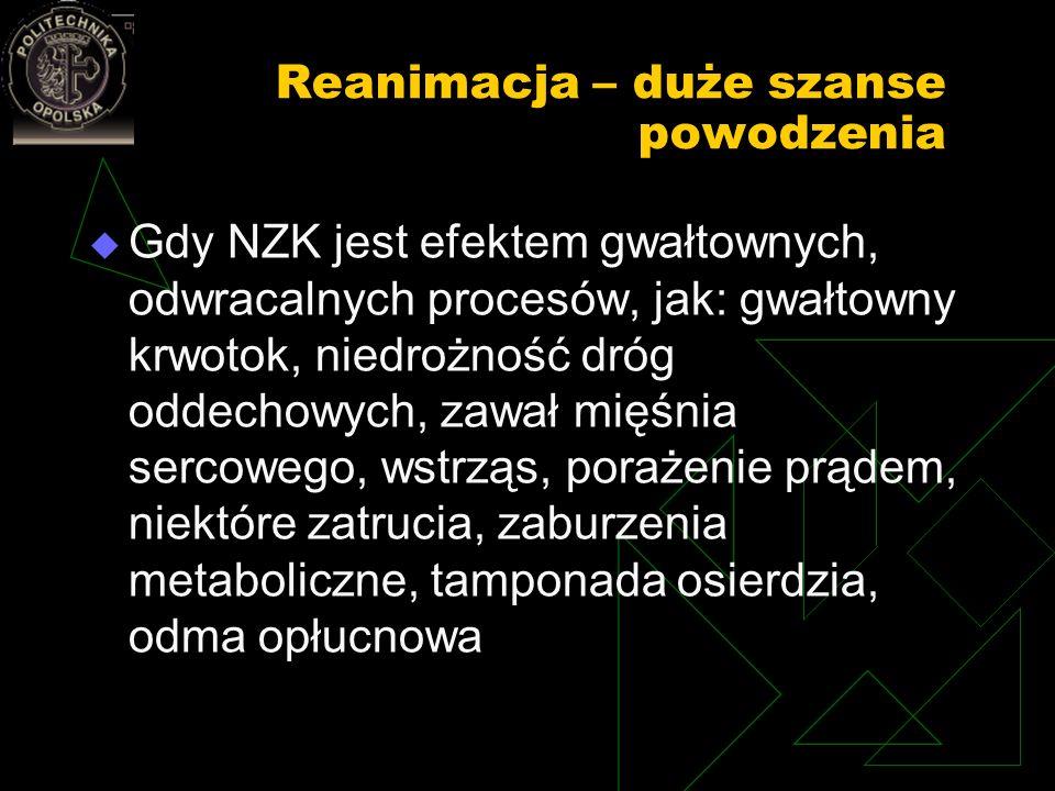 Reanimacja – duże szanse powodzenia Gdy NZK jest efektem gwałtownych, odwracalnych procesów, jak: gwałtowny krwotok, niedrożność dróg oddechowych, zaw
