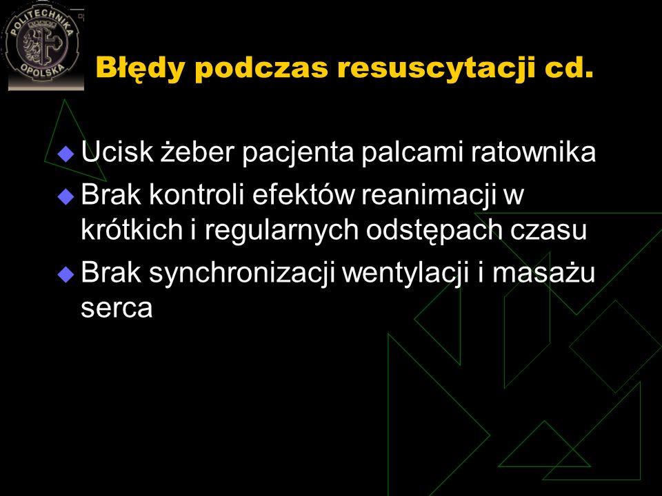 Błędy podczas resuscytacji cd. Ucisk żeber pacjenta palcami ratownika Brak kontroli efektów reanimacji w krótkich i regularnych odstępach czasu Brak s