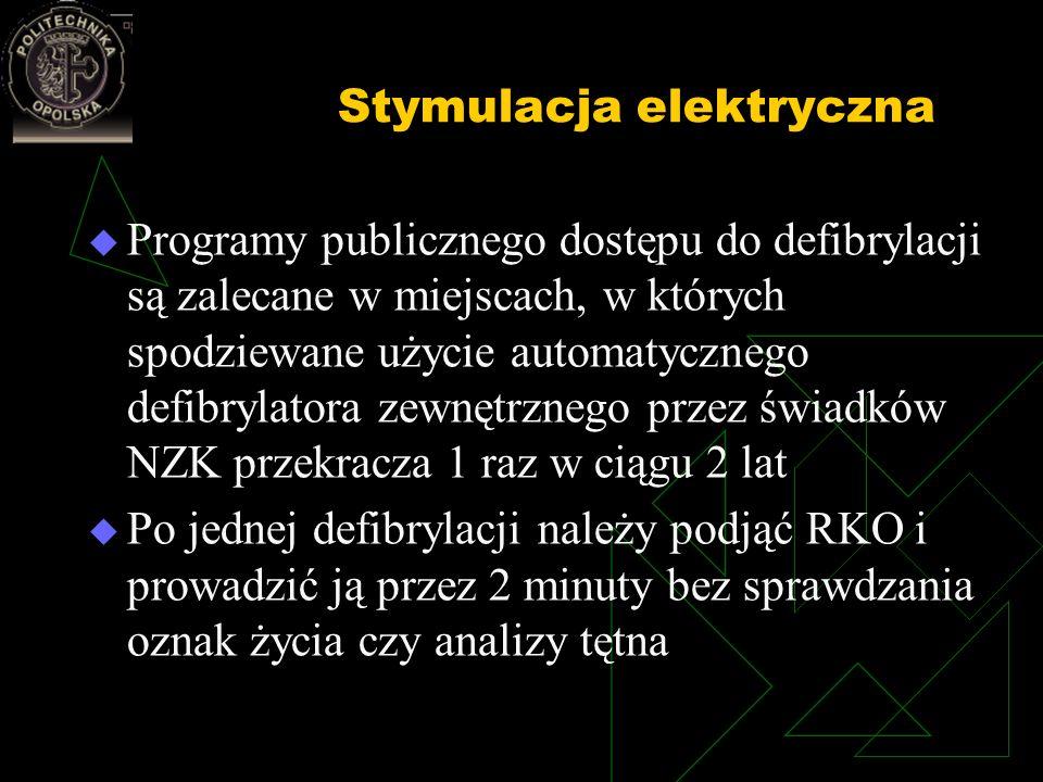 Stymulacja elektryczna Programy publicznego dostępu do defibrylacji są zalecane w miejscach, w których spodziewane użycie automatycznego defibrylatora