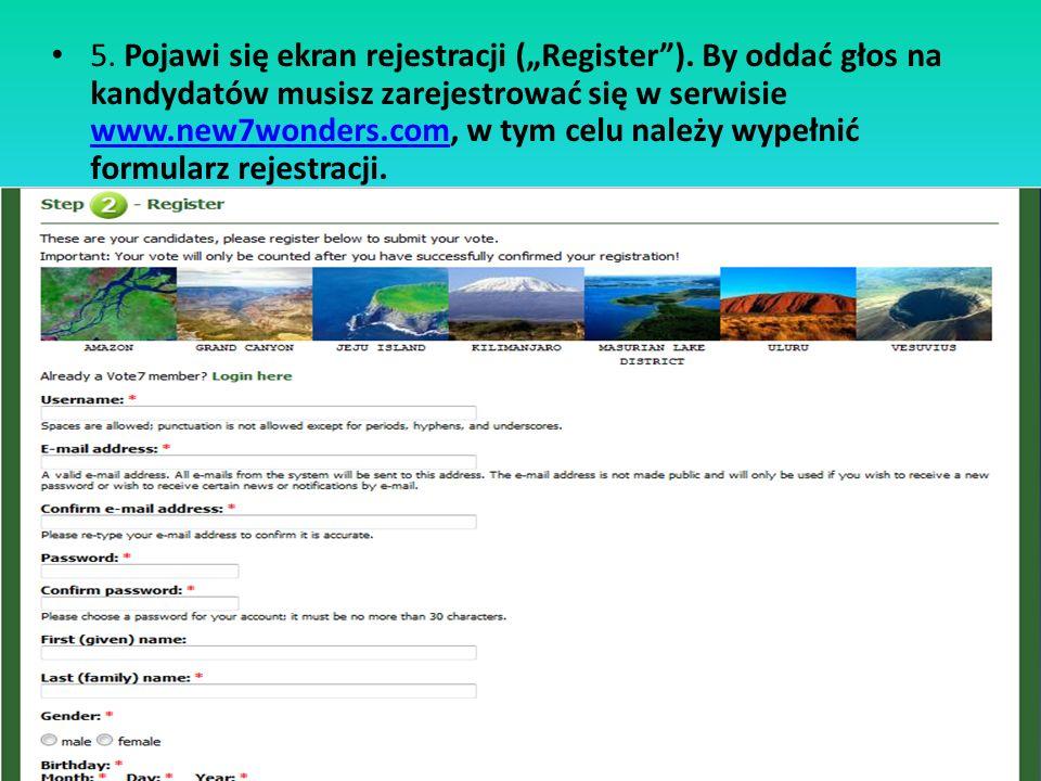 5.Pojawi się ekran rejestracji (Register).
