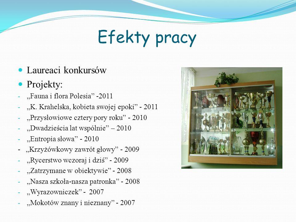 Efekty pracy Laureaci konkursów Projekty: - Fauna i flora Polesia -2011 - K. Krahelska, kobieta swojej epoki - 2011 - Przysłowiowe cztery pory roku -