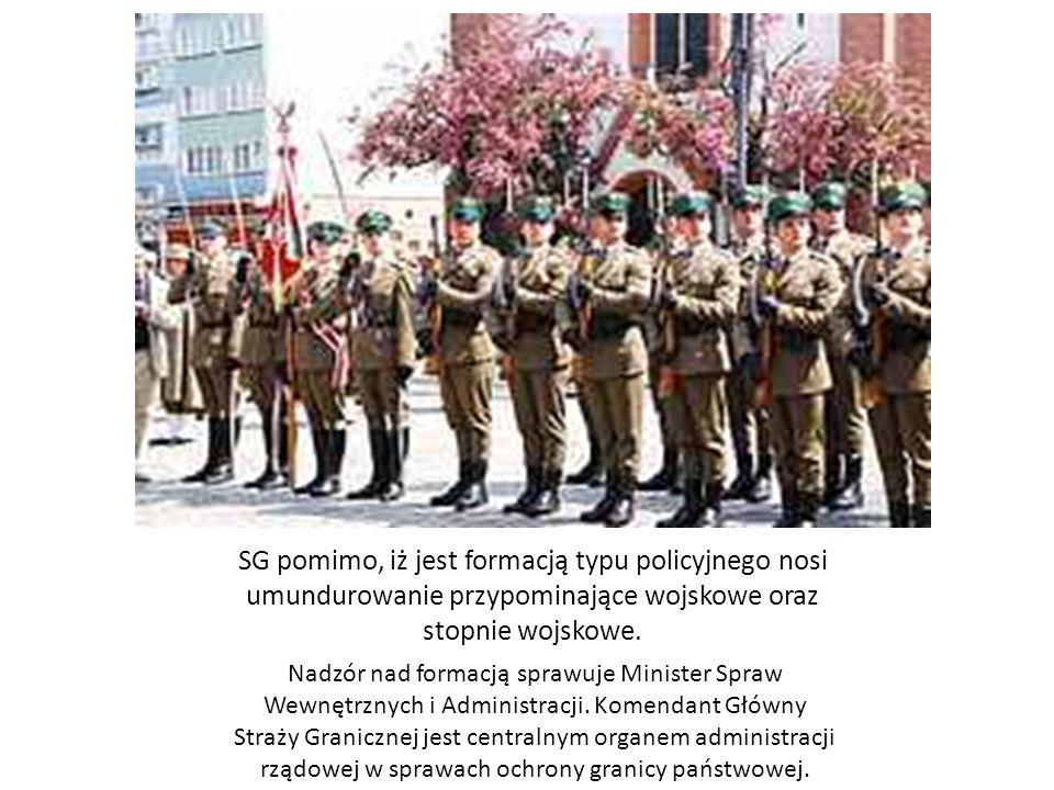 SG pomimo, iż jest formacją typu policyjnego nosi umundurowanie przypominające wojskowe oraz stopnie wojskowe. Nadzór nad formacją sprawuje Minister S