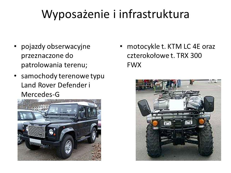 Wyposażenie i infrastruktura pojazdy obserwacyjne przeznaczone do patrolowania terenu; samochody terenowe typu Land Rover Defender i Mercedes-G motocy