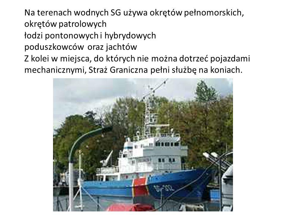Na terenach wodnych SG używa okrętów pełnomorskich, okrętów patrolowych łodzi pontonowych i hybrydowych poduszkowców oraz jachtów Z kolei w miejsca, d
