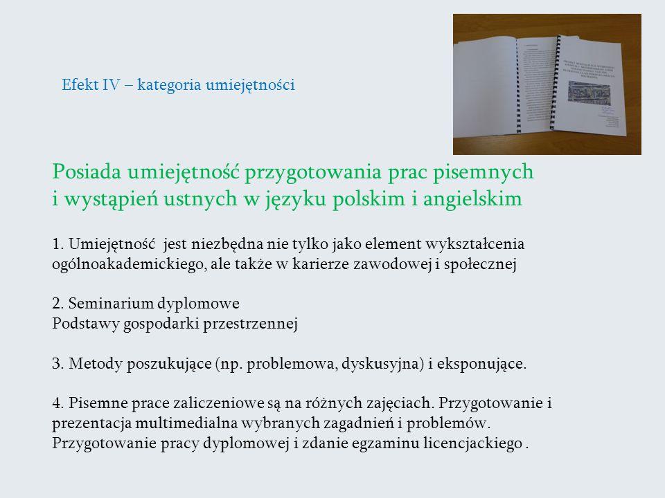 Efekt IV – kategoria umiejętności Posiada umiejętność przygotowania prac pisemnych i wystąpień ustnych w języku polskim i angielskim 1. Umiejętność je