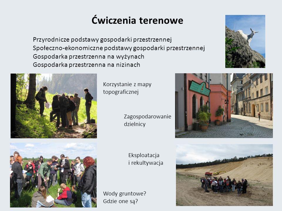 Ćwiczenia terenowe Przyrodnicze podstawy gospodarki przestrzennej Społeczno-ekonomiczne podstawy gospodarki przestrzennej Gospodarka przestrzenna na wyżynach Gospodarka przestrzenna na nizinach Korzystanie z mapy topograficznej Wody gruntowe.