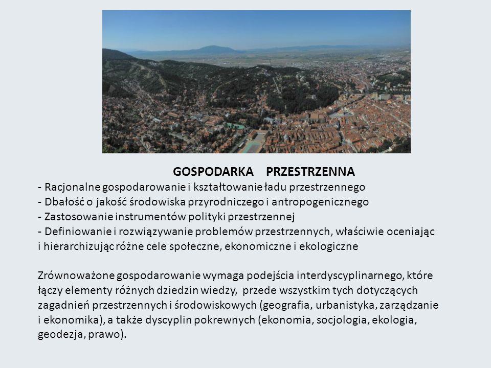 GOSPODARKA PRZESTRZENNA - Racjonalne gospodarowanie i kształtowanie ładu przestrzennego - Dbałość o jakość środowiska przyrodniczego i antropogeniczne