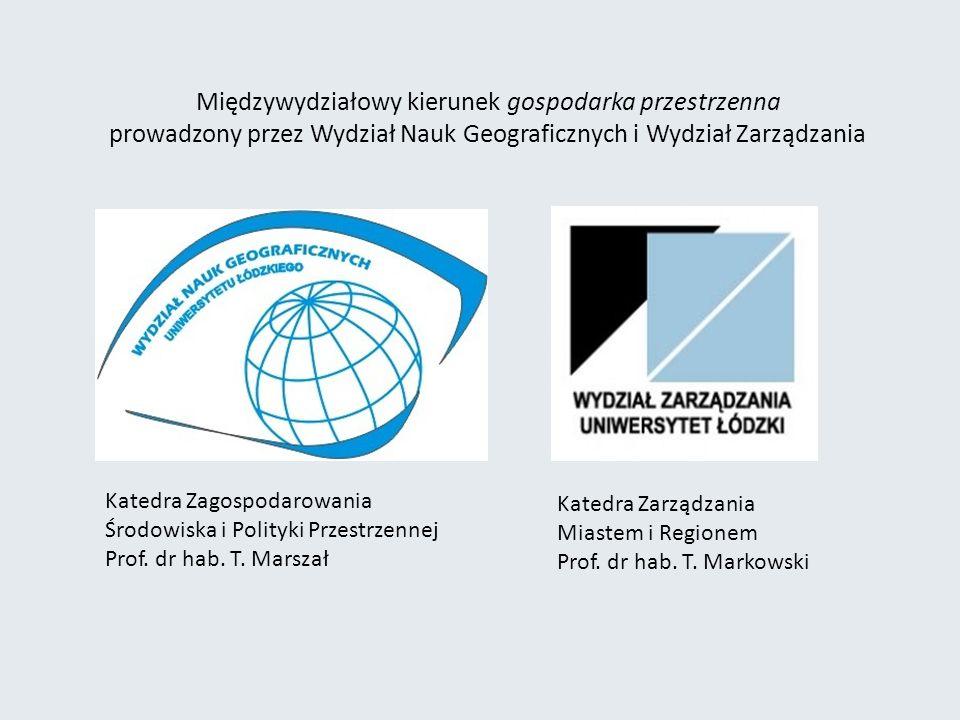 Międzywydziałowy kierunek gospodarka przestrzenna prowadzony przez Wydział Nauk Geograficznych i Wydział Zarządzania Katedra Zagospodarowania Środowiska i Polityki Przestrzennej Prof.