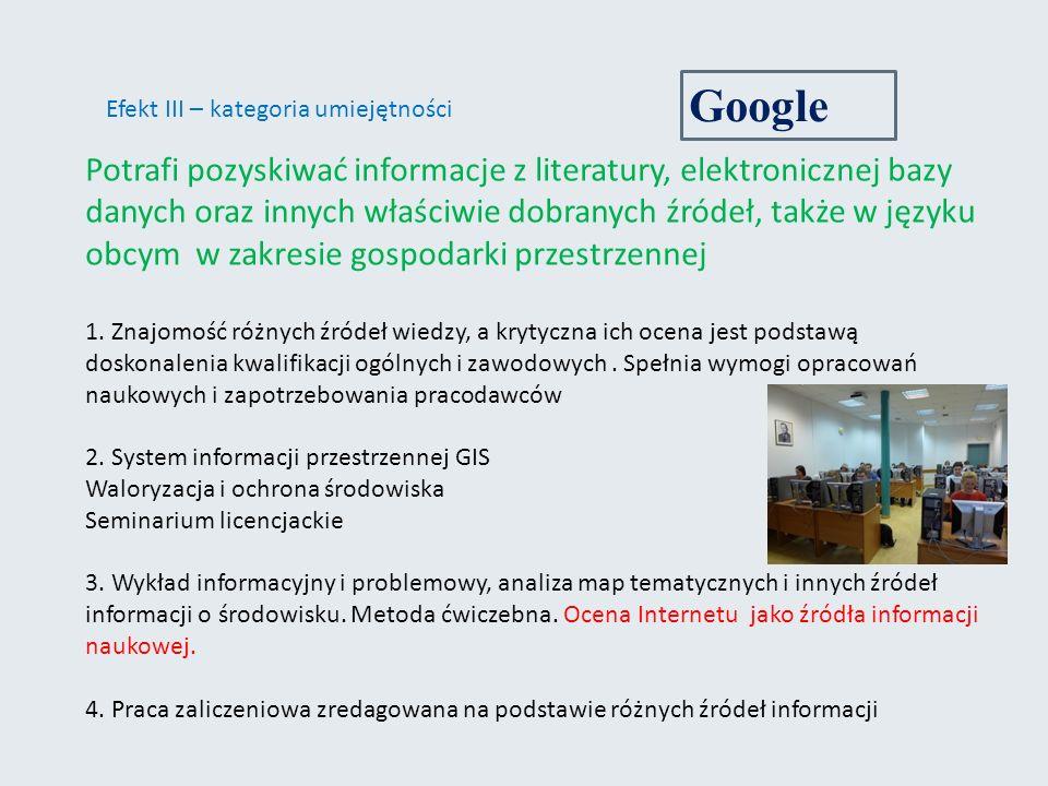 Efekt III – kategoria umiejętności Potrafi pozyskiwać informacje z literatury, elektronicznej bazy danych oraz innych właściwie dobranych źródeł, także w języku obcym w zakresie gospodarki przestrzennej 1.