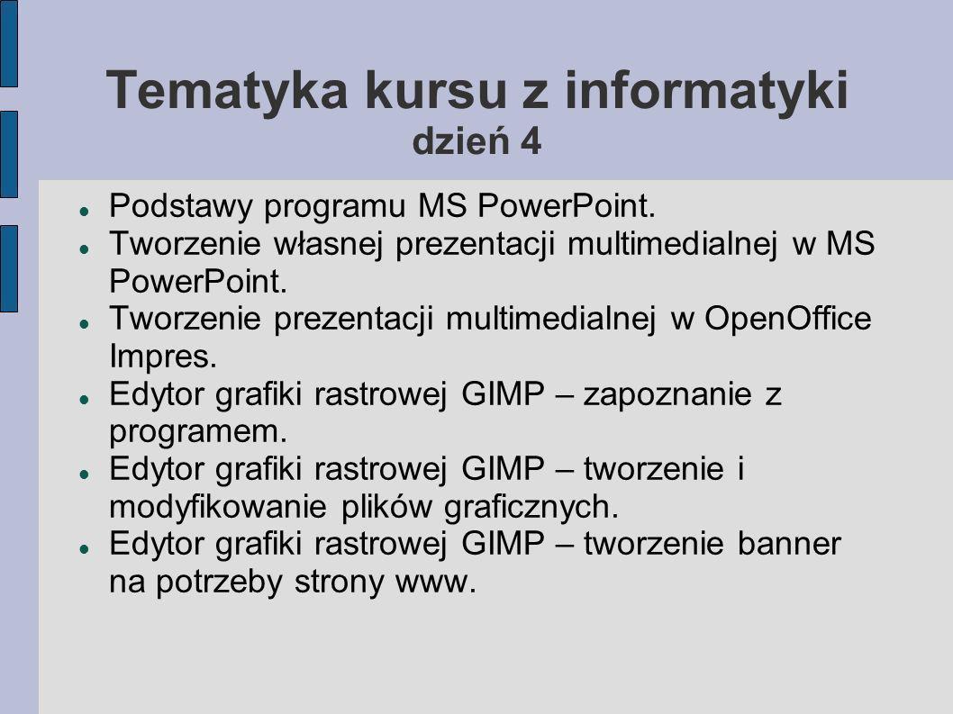 Tematyka kursu z informatyki dzień 4 Podstawy programu MS PowerPoint. Tworzenie własnej prezentacji multimedialnej w MS PowerPoint. Tworzenie prezenta