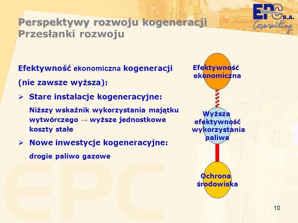 10 Perspektywy rozwoju kogeneracji Perspektywy rozwoju kogeneracji Przesłanki rozwoju Efektywność ekonomiczna kogeneracji (nie zawsze wyższa): Stare instalacje kogeneracyjne: Niższy wskaźnik wykorzystania majątku wytwórczego wyższe jednostkowe koszty stałe Nowe inwestycje kogeneracyjne: drogie paliwo gazowe Wyższa efektywność wykorzystania paliwa Efektywność ekonomiczna Ochrona środowiska