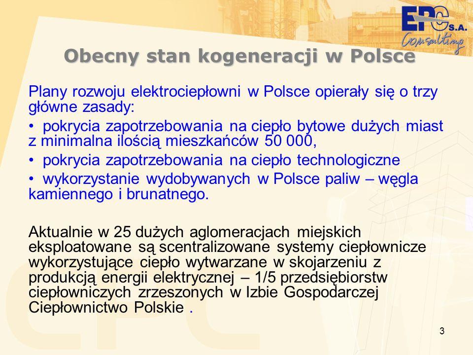 3 Obecny stan kogeneracji w Polsce Obecny stan kogeneracji w Polsce Plany rozwoju elektrociepłowni w Polsce opierały się o trzy główne zasady: pokryci