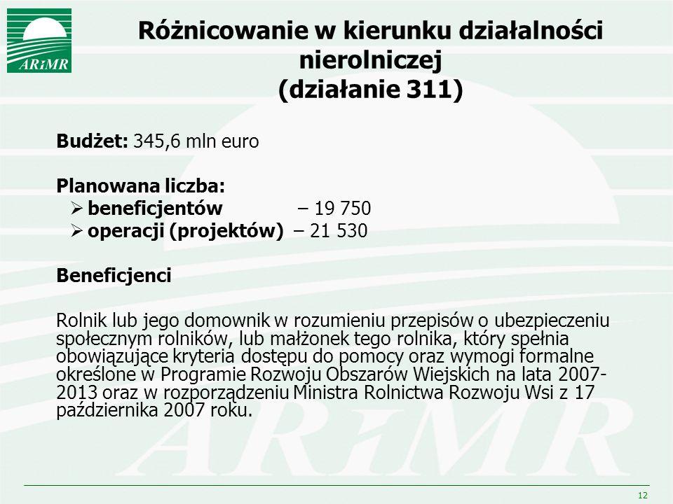 12 Różnicowanie w kierunku działalności nierolniczej (działanie 311) Budżet: 345,6 mln euro Planowana liczba: beneficjentów – 19 750 operacji (projekt