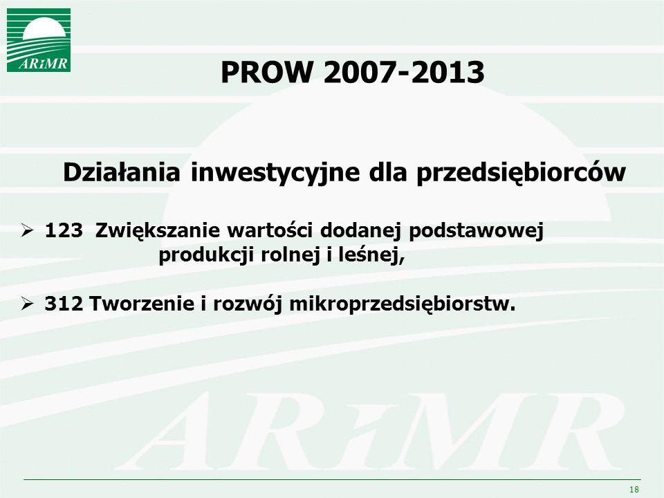 18 PROW 2007-2013 Działania inwestycyjne dla przedsiębiorców 123 Zwiększanie wartości dodanej podstawowej produkcji rolnej i leśnej, 312 Tworzenie i r