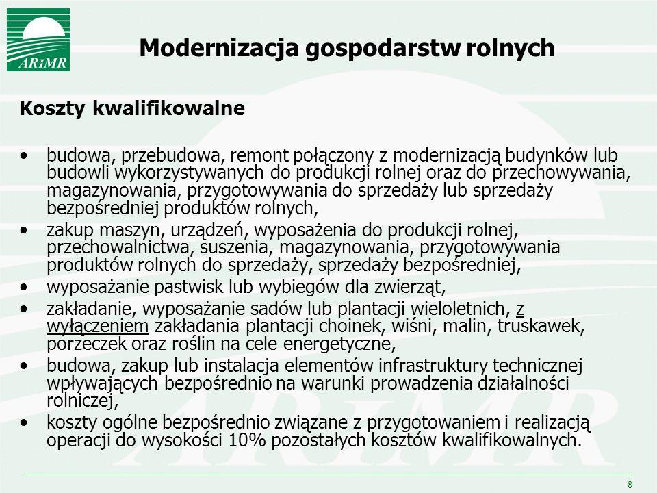 19 Zwiększanie wartości dodanej podstawowej produkcji rolnej i leśnej (działanie 123) Budżet: 1 100,0 mln euro Planowana liczba: beneficjentów - 1 500 operacji (projektów) - 3 500 Beneficjenci Osoba fizyczna, osoba prawna lub jednostka organizacyjna nieposiadająca osobowości prawnej, która m.in.: wykonuje działalność w zakresie przetwórstwa lub wprowadzania do obrotu produktów rolnych, działa jako przedsiębiorca wykonując działalność jako mikro, małe lub średnie przedsiębiorstwo lub przedsiębiorstwo zatrudniające mniej niż 750 pracowników, lub przedsiębiorstwo, którego obrót nie przekracza równowartości w zł 200 mln euro,