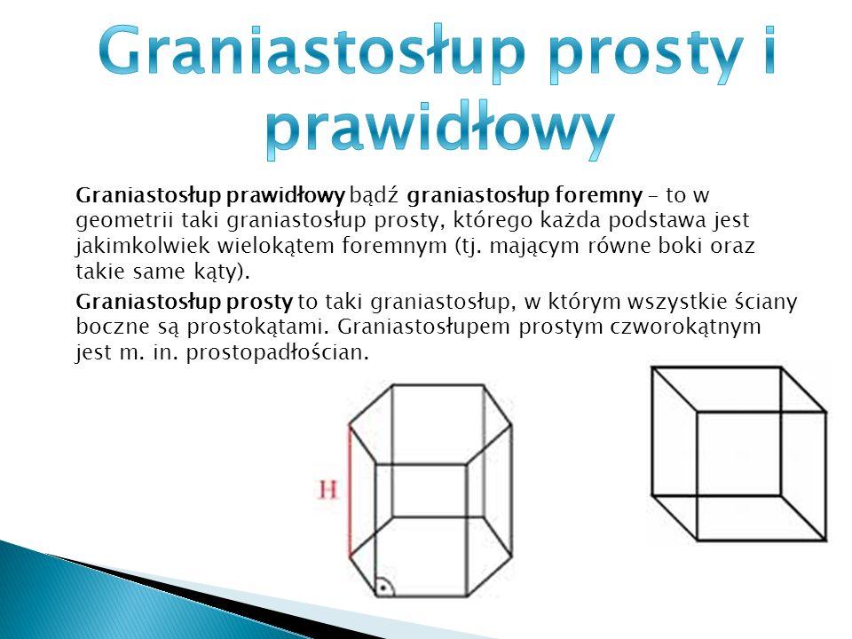 Graniastosłup prosty to taki graniastosłup, w którym wszystkie ściany boczne są prostokątami. Graniastosłupem prostym czworokątnym jest m. in. prostop