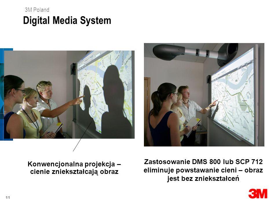 11 3M Poland Konwencjonalna projekcja – cienie zniekształcają obraz Zastosowanie DMS 800 lub SCP 712 eliminuje powstawanie cieni – obraz jest bez znie
