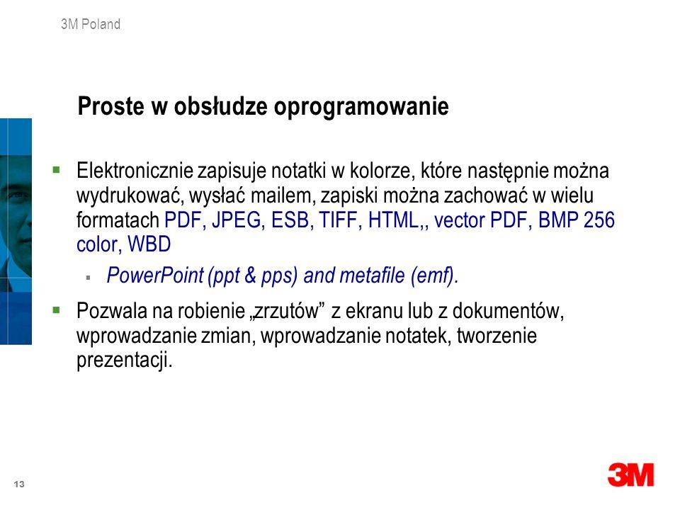 13 3M Poland Elektronicznie zapisuje notatki w kolorze, które następnie można wydrukować, wysłać mailem, zapiski można zachować w wielu formatach PDF,
