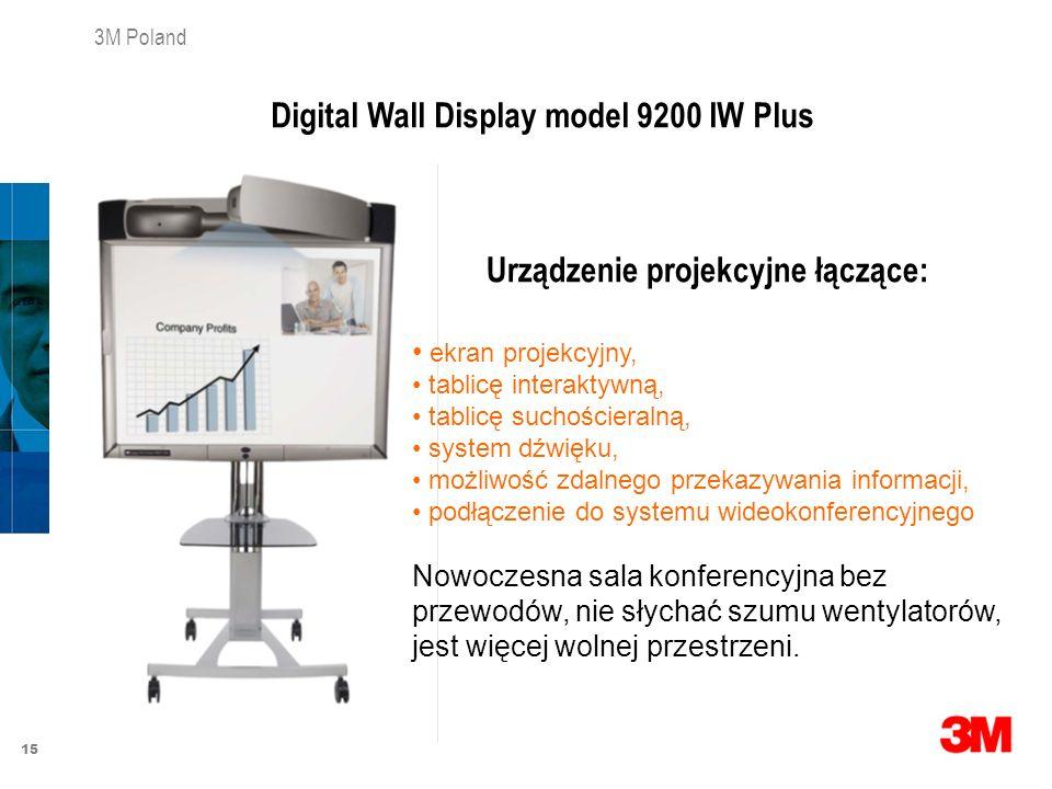 15 3M Poland Urządzenie projekcyjne łączące: ekran projekcyjny, tablicę interaktywną, tablicę suchościeralną, system dźwięku, możliwość zdalnego przek