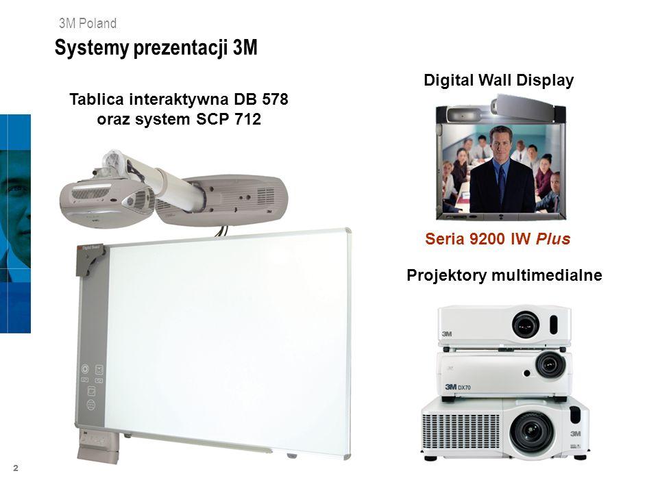 2 3M Poland Systemy prezentacji 3M Digital Wall Display Seria 9200 IW Plus Projektory multimedialne Tablica interaktywna DB 578 oraz system SCP 712