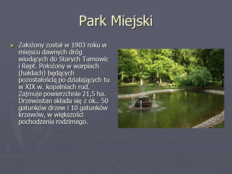 Park Miejski Założony został w 1903 roku w miejscu dawnych dróg wiodących do Starych Tarnowic i Rept. Położony w warpiach (hałdach) będących pozostało
