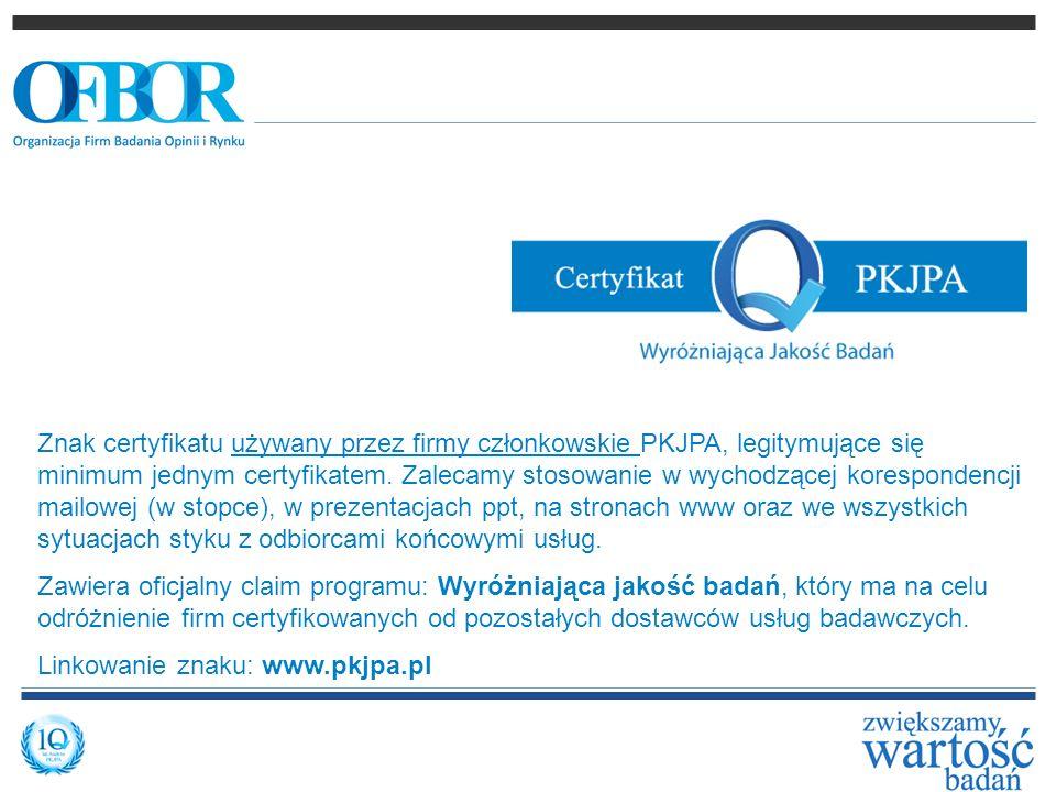 Znak certyfikatu używany przez firmy członkowskie PKJPA, legitymujące się minimum jednym certyfikatem. Zalecamy stosowanie w wychodzącej korespondencj