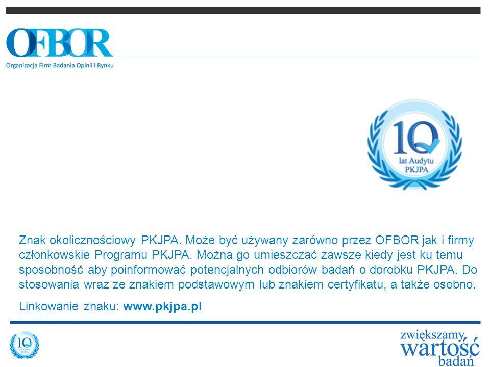 Znak okolicznościowy PKJPA. Może być używany zarówno przez OFBOR jak i firmy członkowskie Programu PKJPA. Można go umieszczać zawsze kiedy jest ku tem
