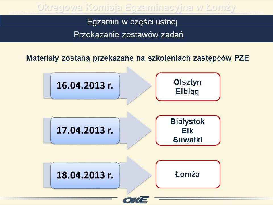 16.04.2013 r.Olsztyn Elbląg 17.04.2013 r. Białystok Ełk Suwałki 18.04.2013 r.
