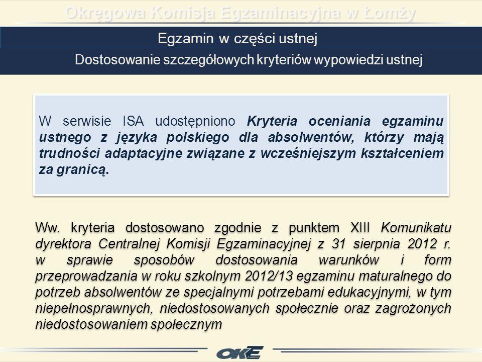 Egzamin w części ustnej Dostosowanie szczegółowych kryteriów wypowiedzi ustnej Ww.