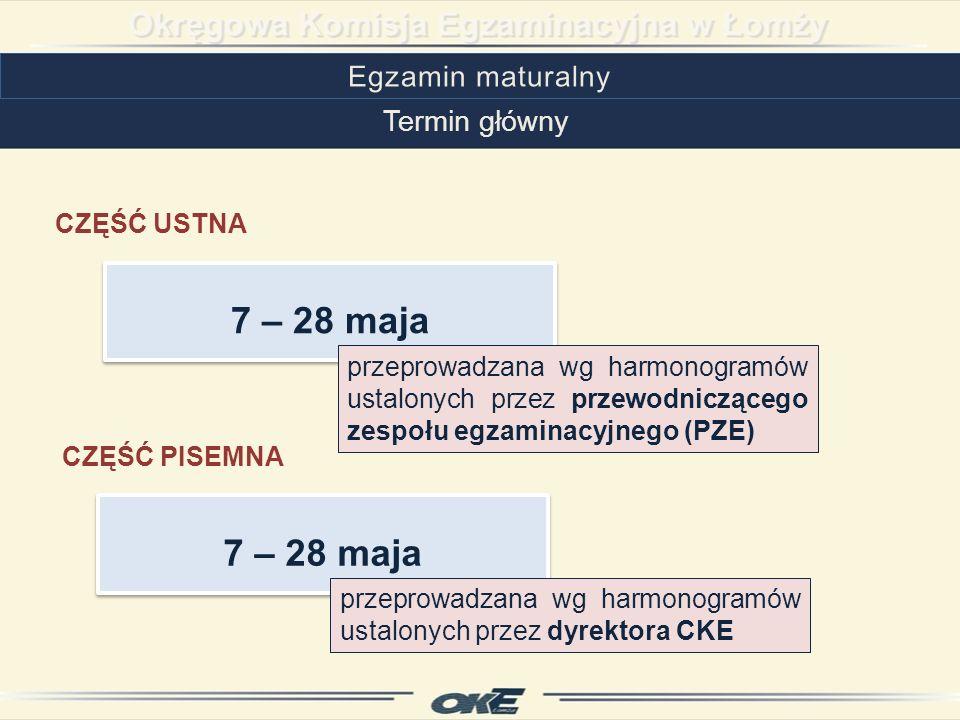 Termin dodatkowy CZĘŚĆ USTNA CZĘŚĆ PISEMNA 3 – 19 czerwca przeprowadzana w szkołach macierzystych wg harmonogramów ustalonych przez PZE przeprowadzana w ośrodkach wg harmonogramów ustalonych przez CKE