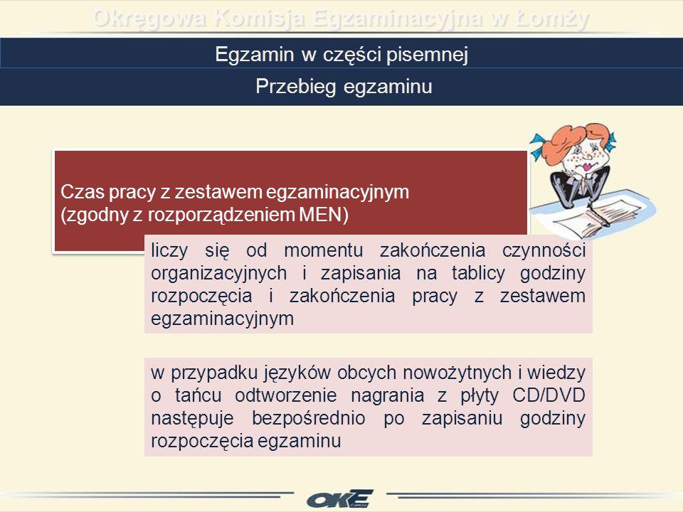 Czas pracy z zestawem egzaminacyjnym (zgodny z rozporządzeniem MEN) Czas pracy z zestawem egzaminacyjnym (zgodny z rozporządzeniem MEN) Egzamin w części pisemnej Przebieg egzaminu w przypadku języków obcych nowożytnych i wiedzy o tańcu odtworzenie nagrania z płyty CD/DVD następuje bezpośrednio po zapisaniu godziny rozpoczęcia egzaminu liczy się od momentu zakończenia czynności organizacyjnych i zapisania na tablicy godziny rozpoczęcia i zakończenia pracy z zestawem egzaminacyjnym