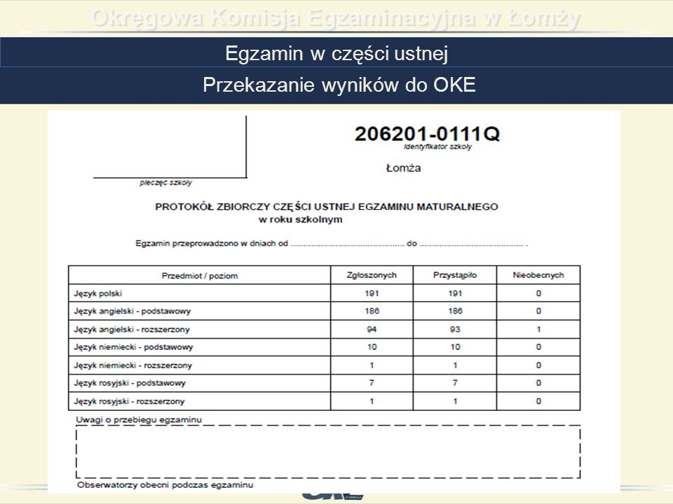 Egzamin w części ustnej Przekazanie wyników do OKE