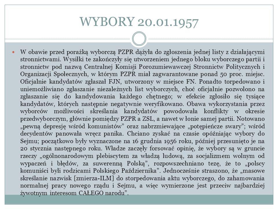 WYBORY 20.01.1957 W obawie przed porażką wyborczą PZPR dążyła do zgłoszenia jednej listy z działającymi stronnictwami. Wysiłki te zakończyły się utwor